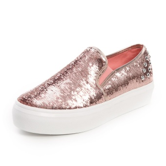 Harga Summer New style to help low set foot heavy-bottomed muffin music fu shoes Shoes student shoes female fashion sequins black casual shoes (Shallow pink)
