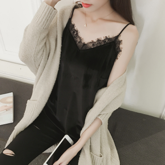 Harga Korean-style gold velvet female loose Top sling vest