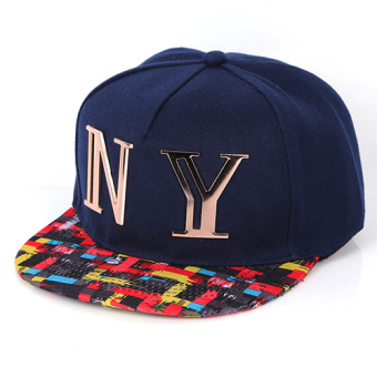 Harga The new fashion lovers baseball cap female spring and autumn men's korean version of the influx of hip-hop hat cap flat along the hat summer (Blue)
