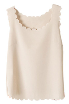 Harga Chiffon Sheer Scallop Crop Tank Top Vest (Beige)