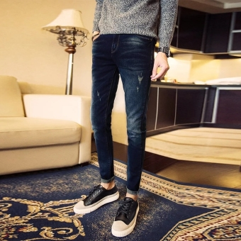 Harga Mens Fashion Slim Casual Denim Pants Cotton Skinny Men Jeans Fit Trousers