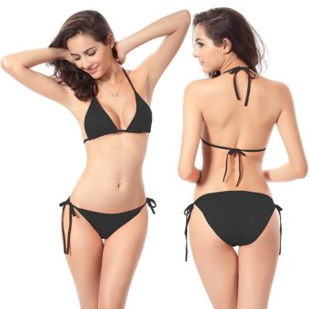 2017 Hot Women Biquini Swimsuits Push Up Bikini Set Swimwear Sexy Bikinis Sets Bathing Suit Beach Bottom Swim Suit (Black) - intl