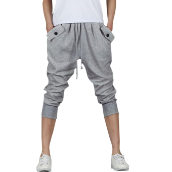Harga Mens Casual Jogger Sports Shorts Pants (Light gray) - intl