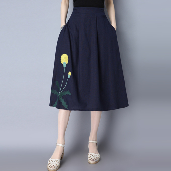 Harga 2017 real shot spring new chinese style embroidered long literary linen skirts a-line skirt (Navy blue)