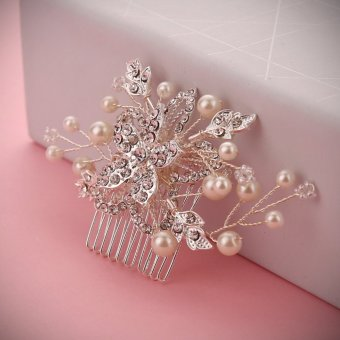 Harga Bride High-end Manual Rhinestone Flower Hair Comb My Hair Adorn Article - intl