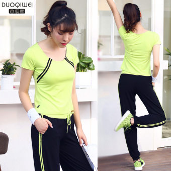 Harga Fashion workout clothes female running sports yoga clothes summer suit duo Qiwei yoga clothes women even more sports clothes casual (S0021 + k0021 fluorescent green/black)