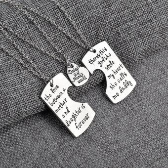 Harga 1pc Family Mother Daughter Daddy Love Forever Heart Pendant Necklace Gift Kit - intl