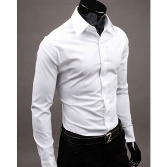 Moonar Fashion Pure Color Style Slim Shirt Men Casual/Fornak Style Long-Sleeve Shirt M-XL (White)
