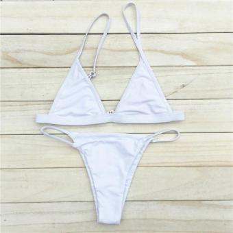 LALANG Bikinis Women Swimsuit Micro Bikini Set Bathing Suits With Halter Strap Swimwear Brazilian Bottom Monokini (White) - intl