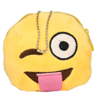 Harga Emoticon Design Round Purse Smiley Bag Hanged Chain Coin Wallet
