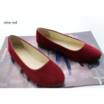 Harga 2016 Spring Autumn Korean Fashion Pointed Women Flat Shoes Shallow Mouth Candy Color Shoes (Wine Red) - intl