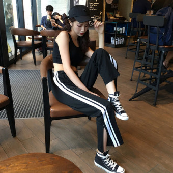 Harga Korea ulzzang summer autumn and women's Korean-style tide loose pants zip slit casual pants sports pants black trousers
