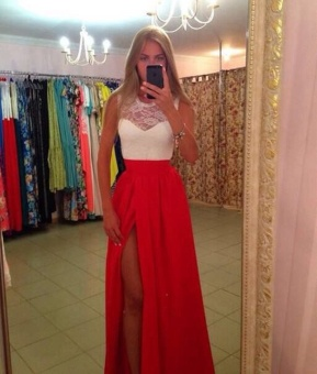 Women's New Long Sexy Evening Party Ball Prom Gown Formal Bridesmaid Cocktail Dress(Color:Red) - intl - 2