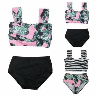 Bikinis Women Biquinis Striped Top Floral Bottom Swimsuit High Waist Bikini Brazilian Bikini Biquini(BN) - intl - 4