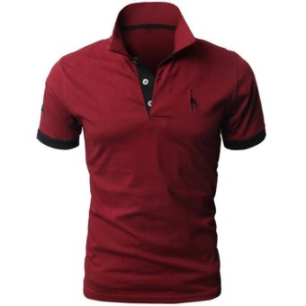 Harga Mens Fine Cotton Giraffe Polo Shirts Wine(EXPORT)