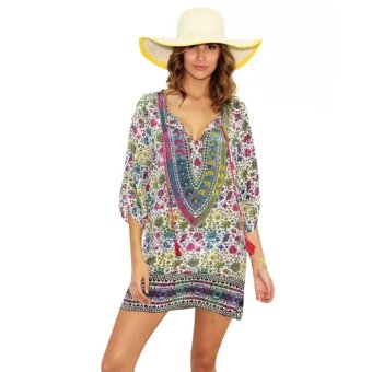 Women Summer Beach Chiffon Floral Casual Mini Dress