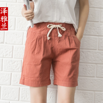 Harga Cotton beach casual shorts female summer loose big yards wide leg pants linen shorts home casual sports shorts trousers (Embroidered red)