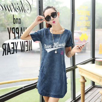 Harga Casual loose short-sleeved Plus-sized denim A-line dress