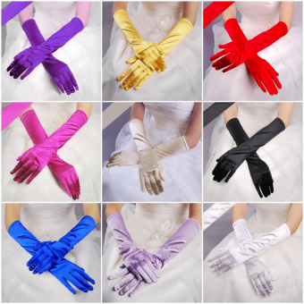 Fashion Satin Long Gloves Opera Wedding Bridal Evening Party Costume Gloves Black - intl - 2