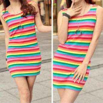 Harga Women's striped pure cotton sleeveless tank dress