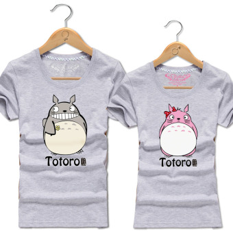 Harga TOTORO 2017 cotton bottoming shirt korean version of the new summer lovers men and women BEACH short sleeve t-shirt large SIZE class service (Light gray)
