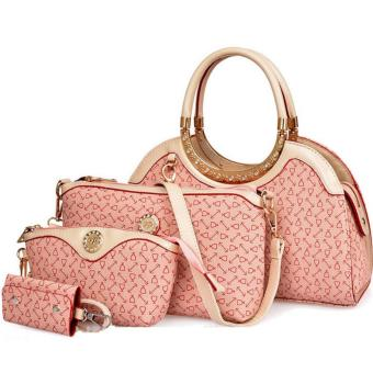 Harga Korea Fashionable LV Style New Concept 4in1 Setbag With Crystals(Pink)