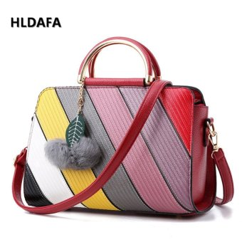 Harga Fashion Female Bag Messenger Bag Top-Handle Bags (Burgundy) - intl