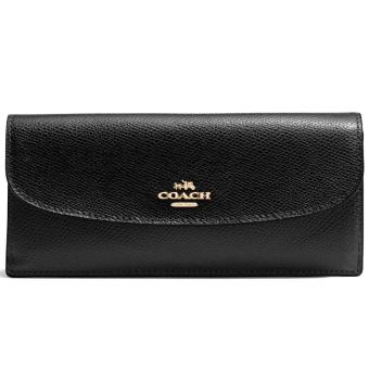 Harga Coach Crossgrain Leather Soft Wallet Black # F54008
