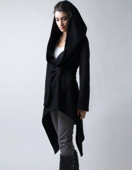 Harga C1S Stylish Hooded Cardigan Coat Belted Asymmetrical Long Hoody Jacket(Black) - intl