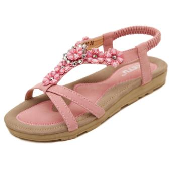 Harga Women Fashion Sandals Bohemia Flowers Flats Shoes (Pink) - intl