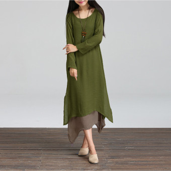 Harga ZANZEA Boho Hippie Women Long Sleeve Cotton Linen Casual Long Maxi Dress Amy Green
