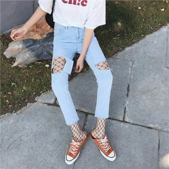 Harga New style Korean-style loose Slimming effect hole jeans Korean ulzzang Harajuku style BF student female HarLan pants tide