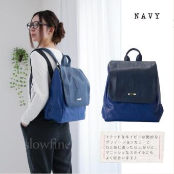 Harga Japan original (Legato Largo) backpack classical PU leather Bicolor rucksack (navy color)