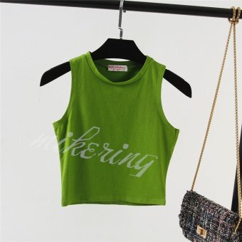 Aa vintage sleeveless small vest female slim was thin waist short paragraph midriff vest summer cotton outer wear bottoming shirt (Green)