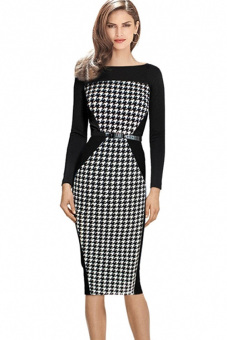 Harga Jo.In Stylish Ladies Women Casual Long Sleeve Pencil Shift Long Dress M-XXL (Houndstooth)