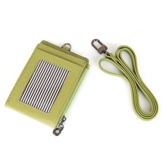 Harga ID Window Card Holder Leather Wallet Lanyard Strap Zip Pocket For Coin Credit Card - Limegreen