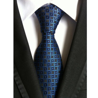 Men's Jacquard Silk Slim Plain Tie Blue - intl