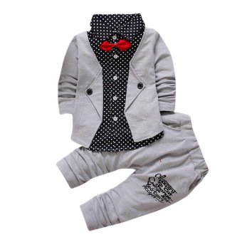 Harga Kid Baby Boy Gentry Clothes Set Formal Party Christening Wedding Tuxedo Bow Suit - intl