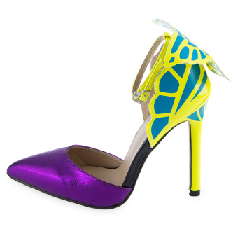 Rainbow Cat Sexy Butterfly Design High Heel Leather Shoes(Purple) - intl - 4