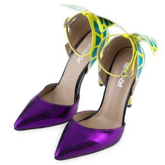 Rainbow Cat Sexy Butterfly Design High Heel Leather Shoes(Purple) - intl - 3