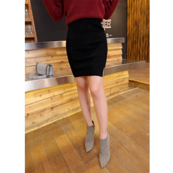Harga Wyatt mina autumn new ol commuter temperament skirts 2015 skirt knit pencil skirt slit skirts (Black)