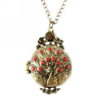 Harga Jetting Peacock Locket Crystal Pendants Necklace Gold