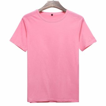 Harga 2017 Brand clothing o-neck Blank T-shirts short sleeved casual T-shirt 100% cotton men t shirts (Pink) - intl