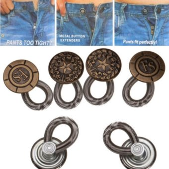 6pcs Instant Perfect Fit Buttons Jeans Pants Fix Waist Extender Metal Buttons Bronze - intl