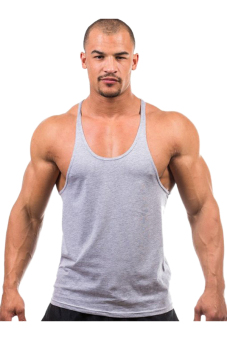 Harga HANG-QIAO Fitness Sports Vest Tank Top T-Shirts (Grey)