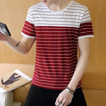 Harga Men's Fashion Short Sleeve O-neck Casual T-Shirts Red - intl