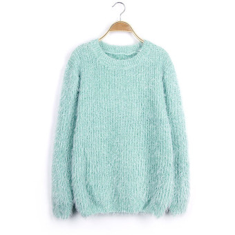 Harga Women Mohair Pullover Sweaters and Pullovers Autumn Winter O-neck Candy Color Knitted Sweater pull femme Knitwear Light Blue - intl