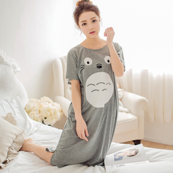 Harga Nightgown female summer loose fat mm thin section korean students princess sweet cute cartoon short sleeve pajamas home service (My neighbor totoro gray)