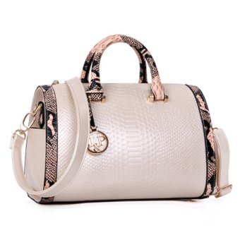 Harga Women Ladies Large Capacity Snake Pattern PU Leather Tote Handbag Shoulder Messenger Bag White (Intl)