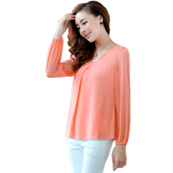 Harga OL Elegant Long Sleeve Chiffon Shirt Blouse Tops (Pink)